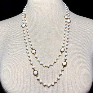 """52"""" Vintage Art Deco Czech Milk Glass Necklace"""